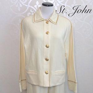 ST. JOHN IVORY AND GOLD COLORED JACKET/PANTS SET